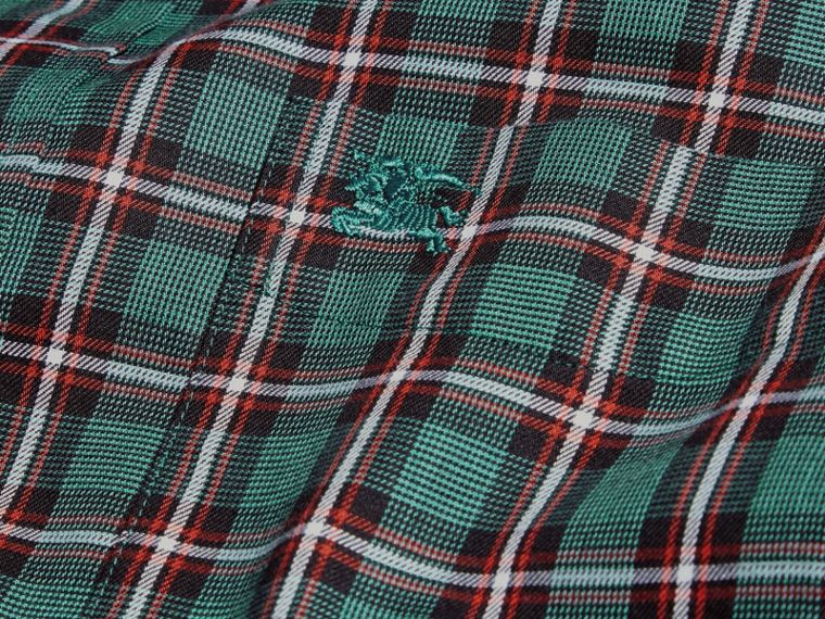 Dark teal green Tartan Cotton Twill Shirt Dark Teal Green - cell image 1