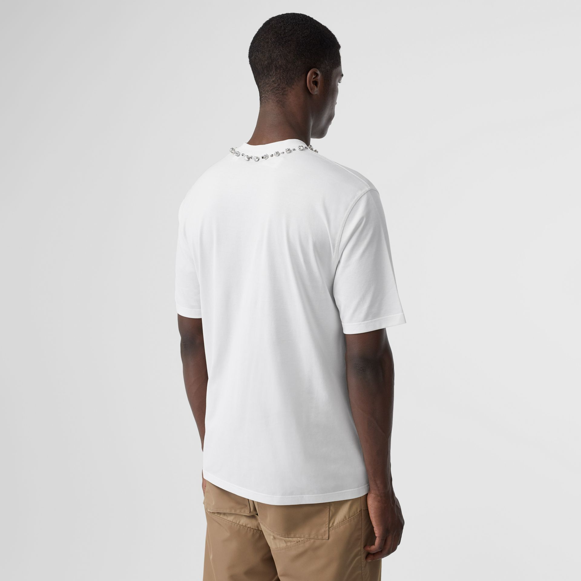 Embellished Cotton Oversized T-shirt in White - Men | Burberry Canada - gallery image 4