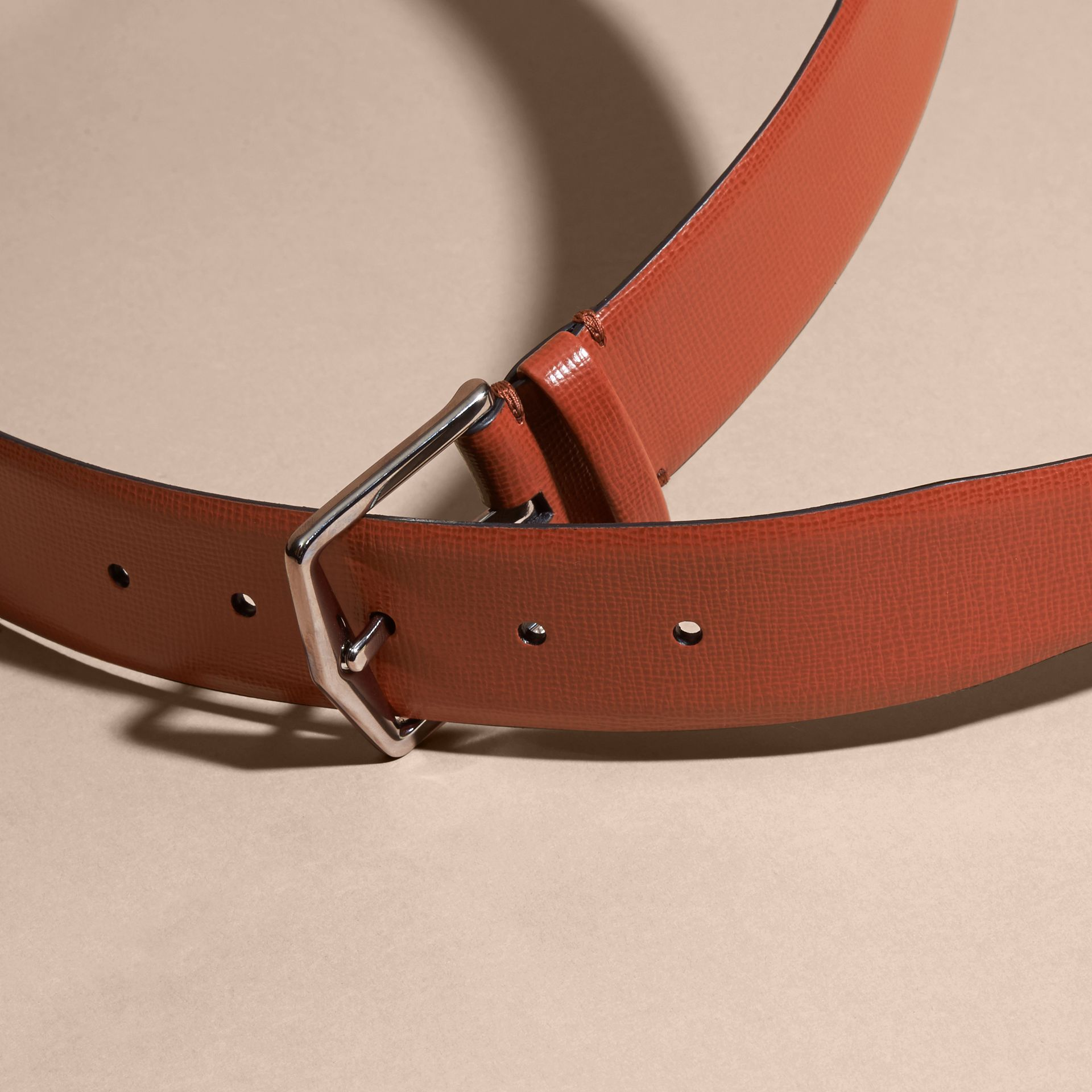 London Leather Belt with Check Detail Burnt Sienna - gallery image 3