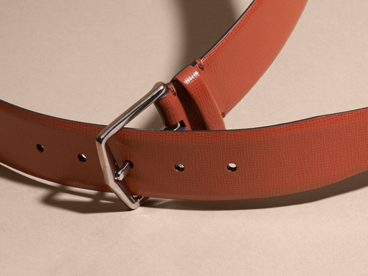London Leather Belt with Check Detail Burnt Sienna - cell image 2