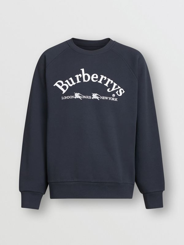 Embroidered Archive Logo Jersey Sweatshirt in Navy - Men | Burberry - cell image 3