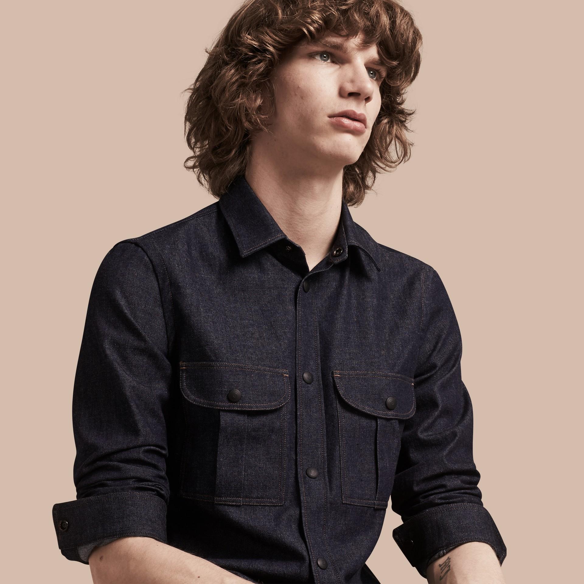 Indigo Slim Fit Japanese Denim Shirt - gallery image 1