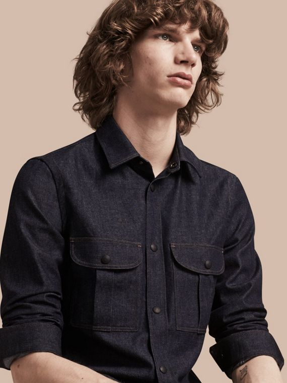 Slim Fit Japanese Denim Shirt