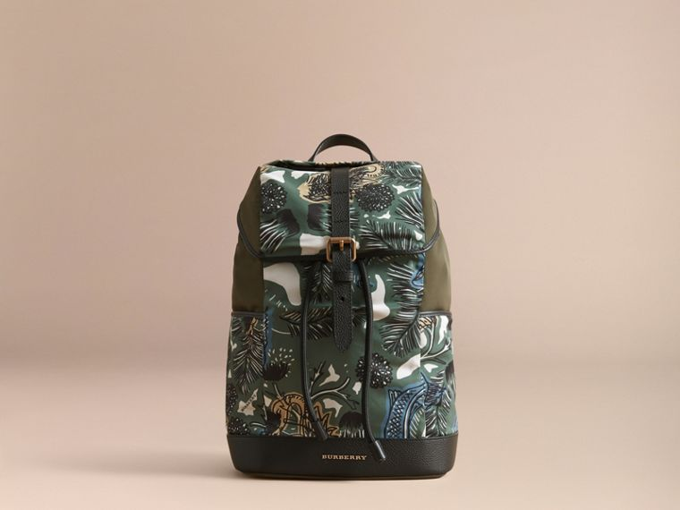 Leather Trim Lightweight Backpack in Sage Green | Burberry Australia - cell image 4