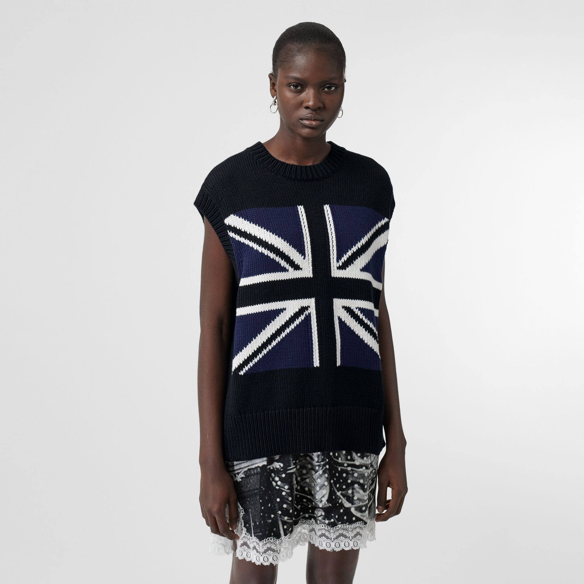Zip Detail Union Jack Intarsia Cotton Vest in Black - Women | Burberry - gallery image 0