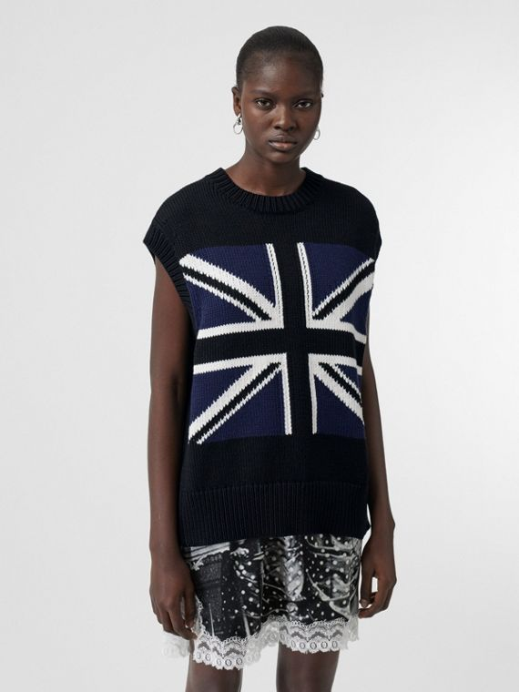 Zip Detail Union Jack Intarsia Cotton Vest in Black