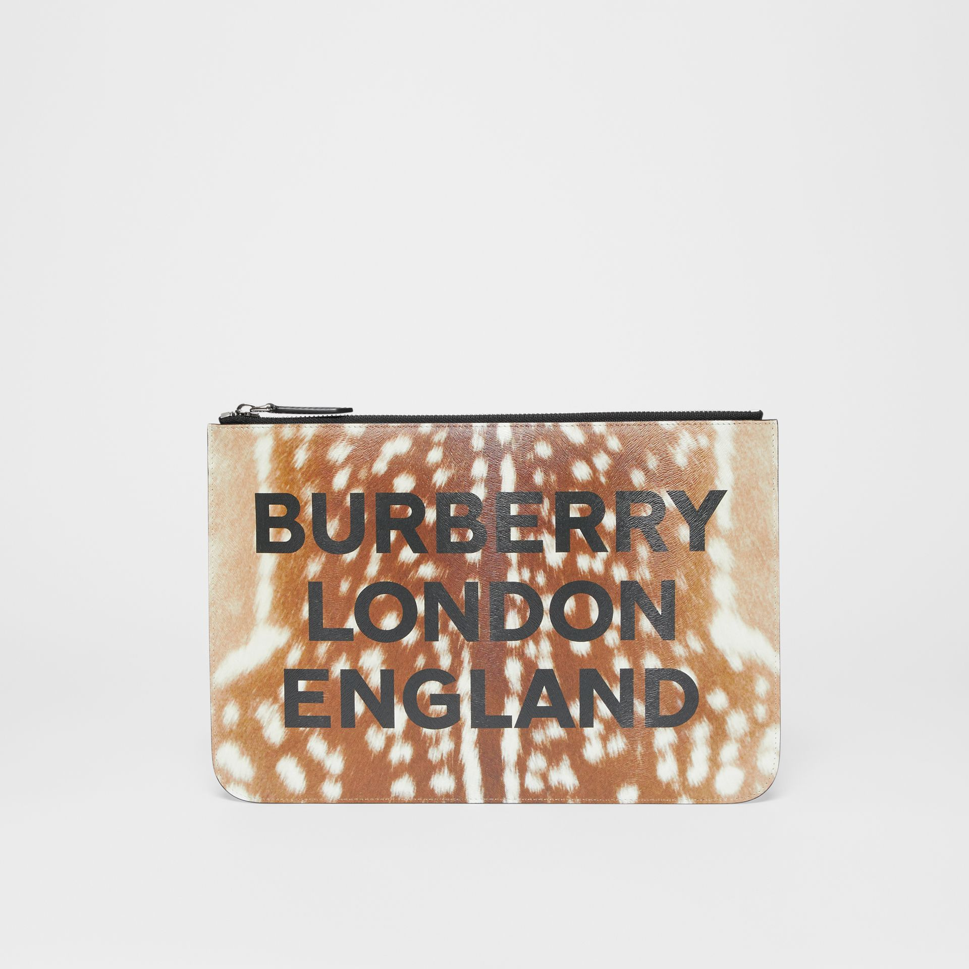 Deer Print Leather Zip Pouch in Tan | Burberry - gallery image 0