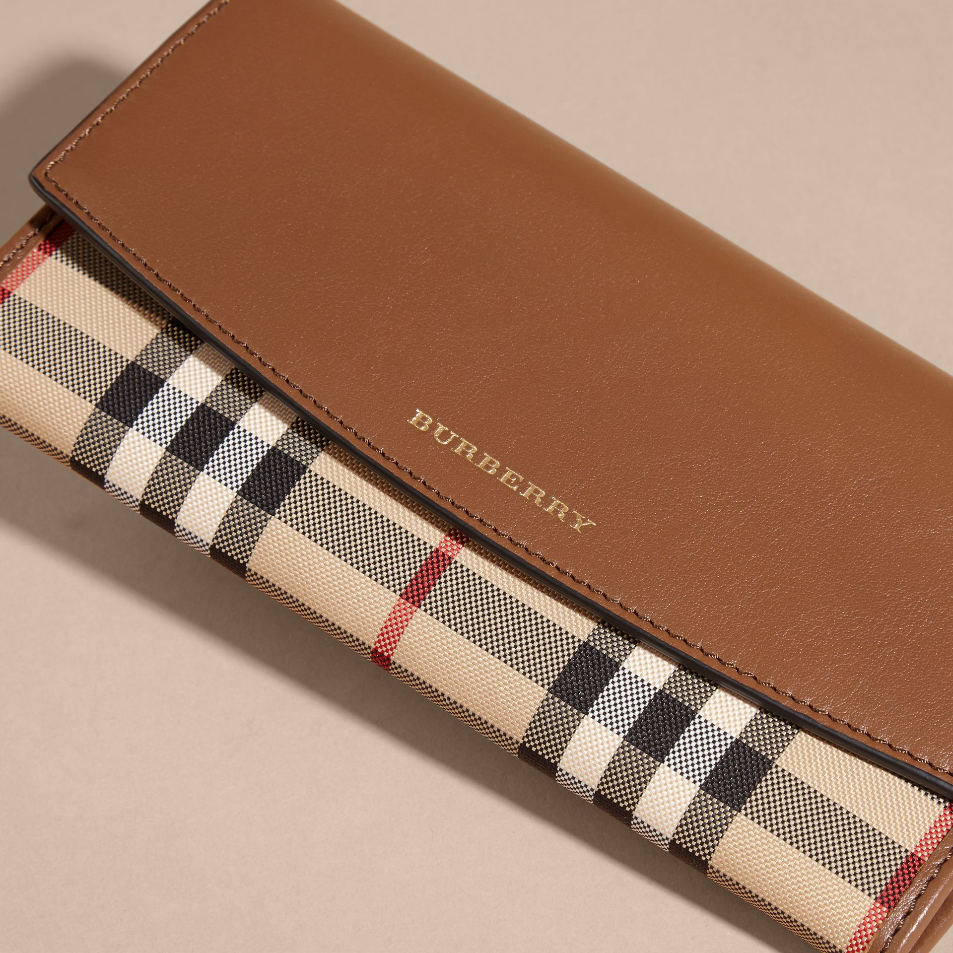 Tan Horseferry Check and Leather Continental Wallet Tan - gallery image 3