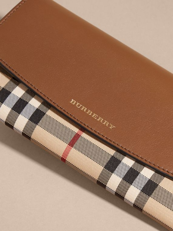 Horseferry Check and Leather Continental Wallet in Tan - Women | Burberry - cell image 2