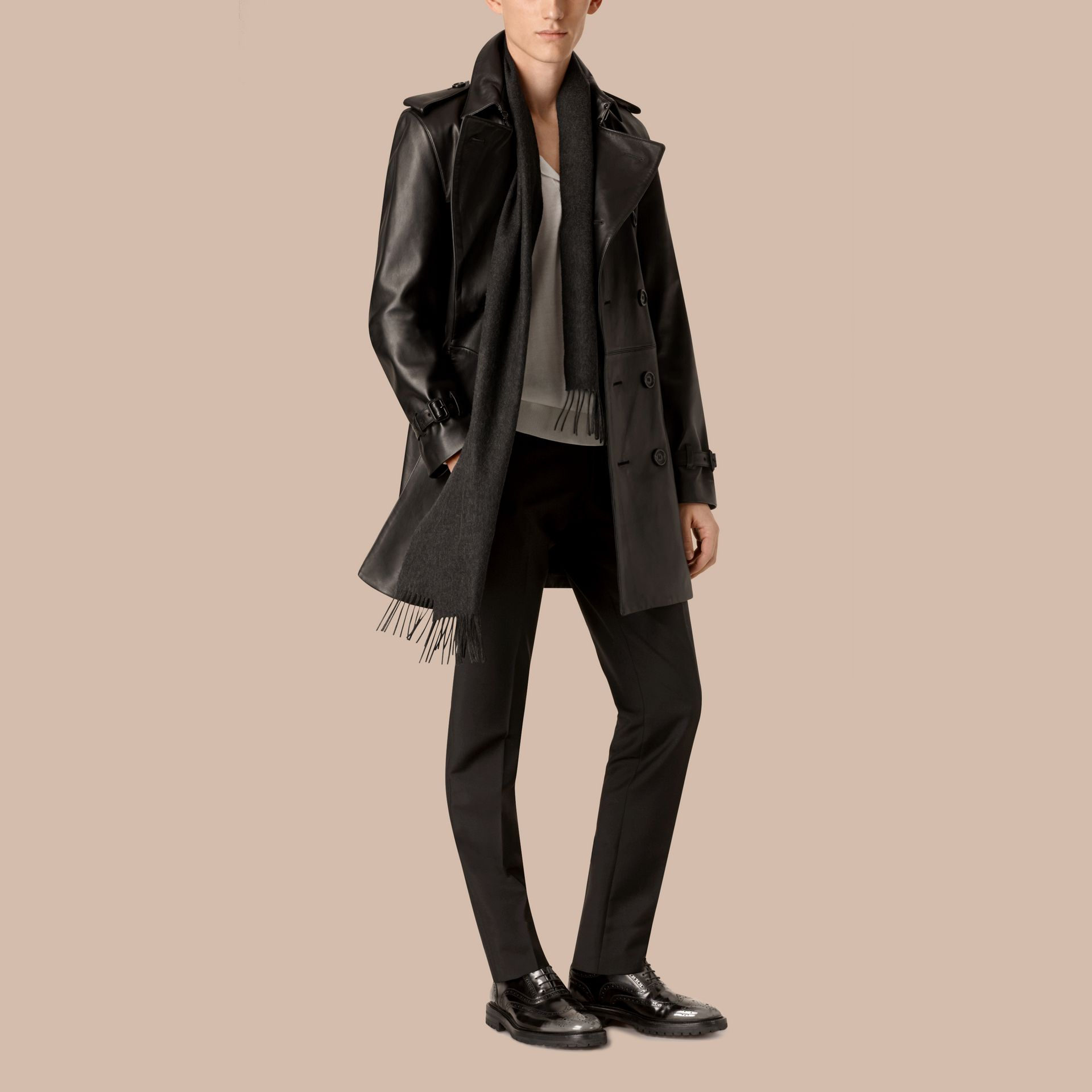 Black Mid-length Lambskin Trench Coat - gallery image 6