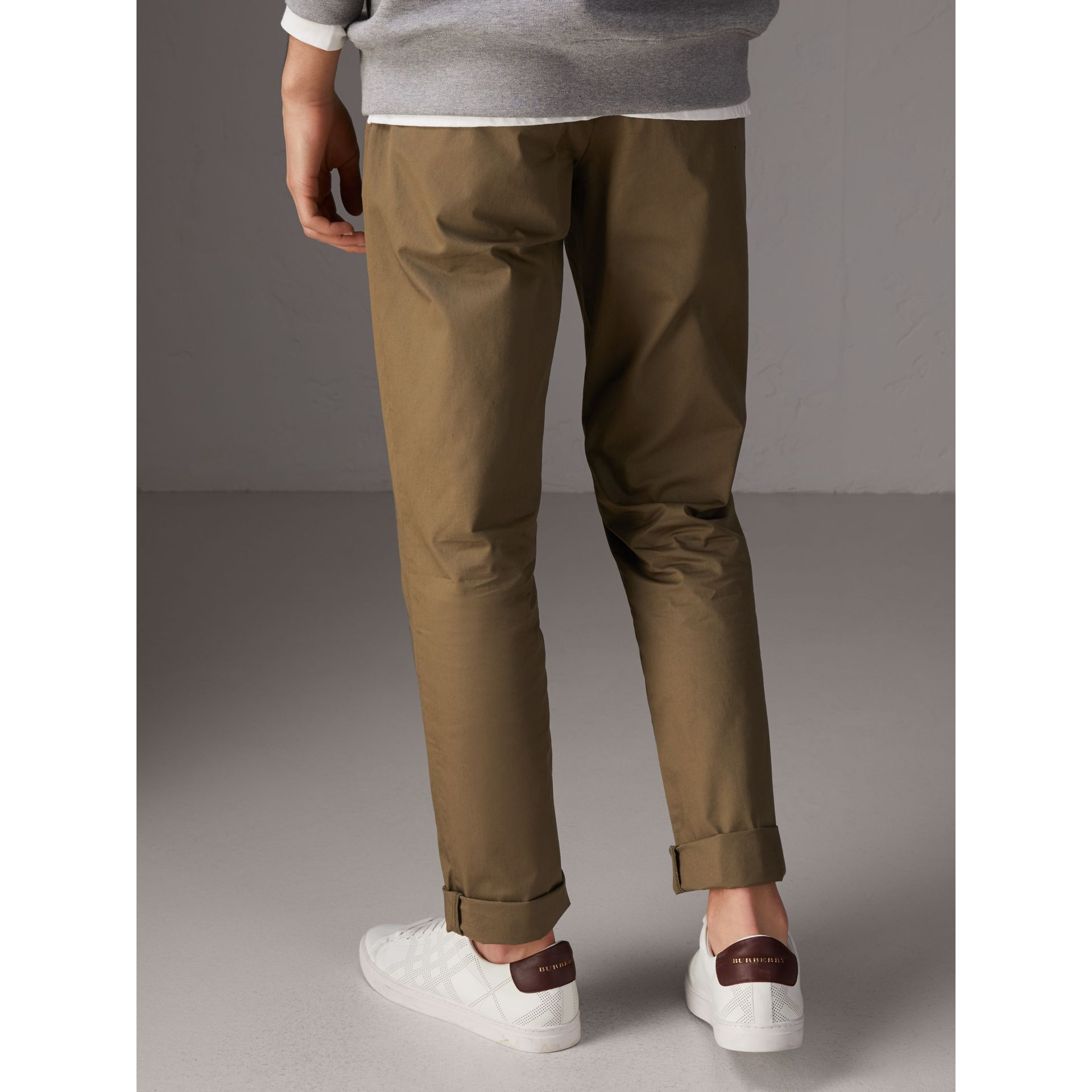 Slim Fit Cotton Chinos in Olive Green - Men | Burberry - gallery image 1