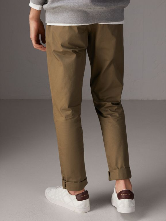 Slim Fit Cotton Chinos in Olive Green - Men | Burberry - cell image 1