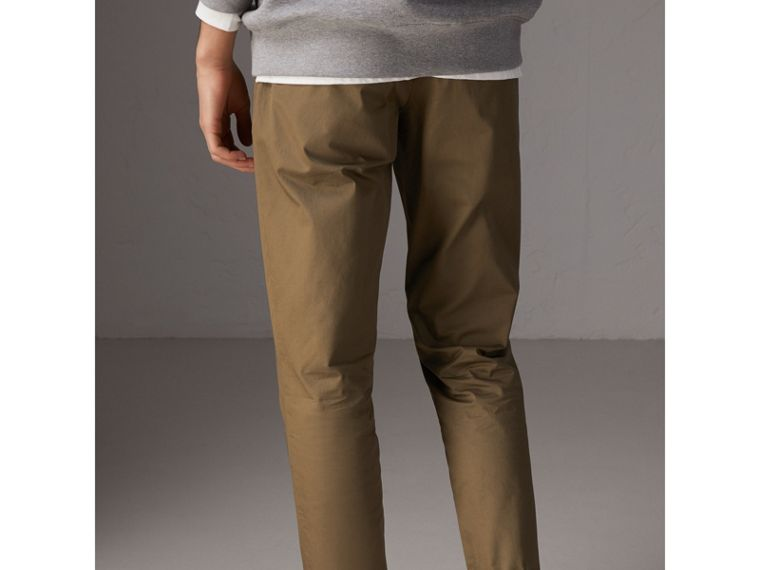 Slim Fit Cotton Chinos in Olive Green - Men | Burberry Singapore - cell image 1