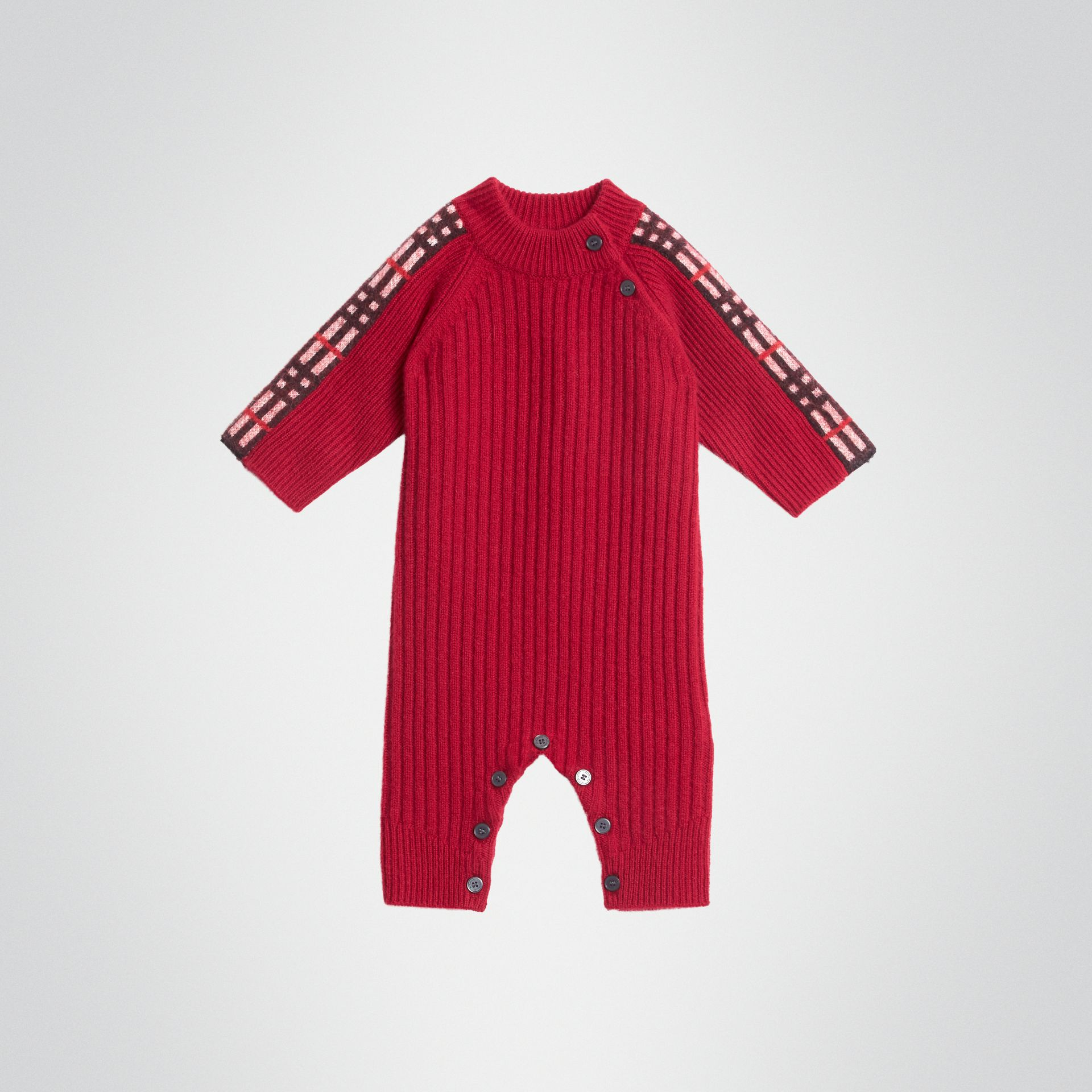 Check Detail Cashmere Jumpsuit in Burgundy Red - Children | Burberry United States - gallery image 0