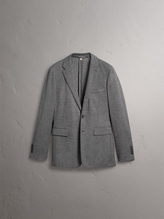 Soho Fit Cotton Wool Jersey Tailored Jacket in Charcoal Melange - Men | Burberry - cell image 3