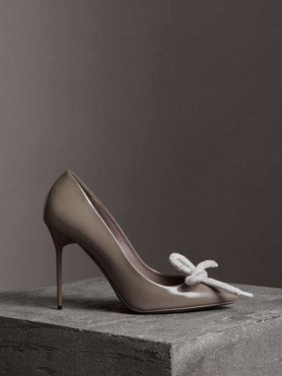 The Patent Leather Rope Stiletto in Taupe Grey