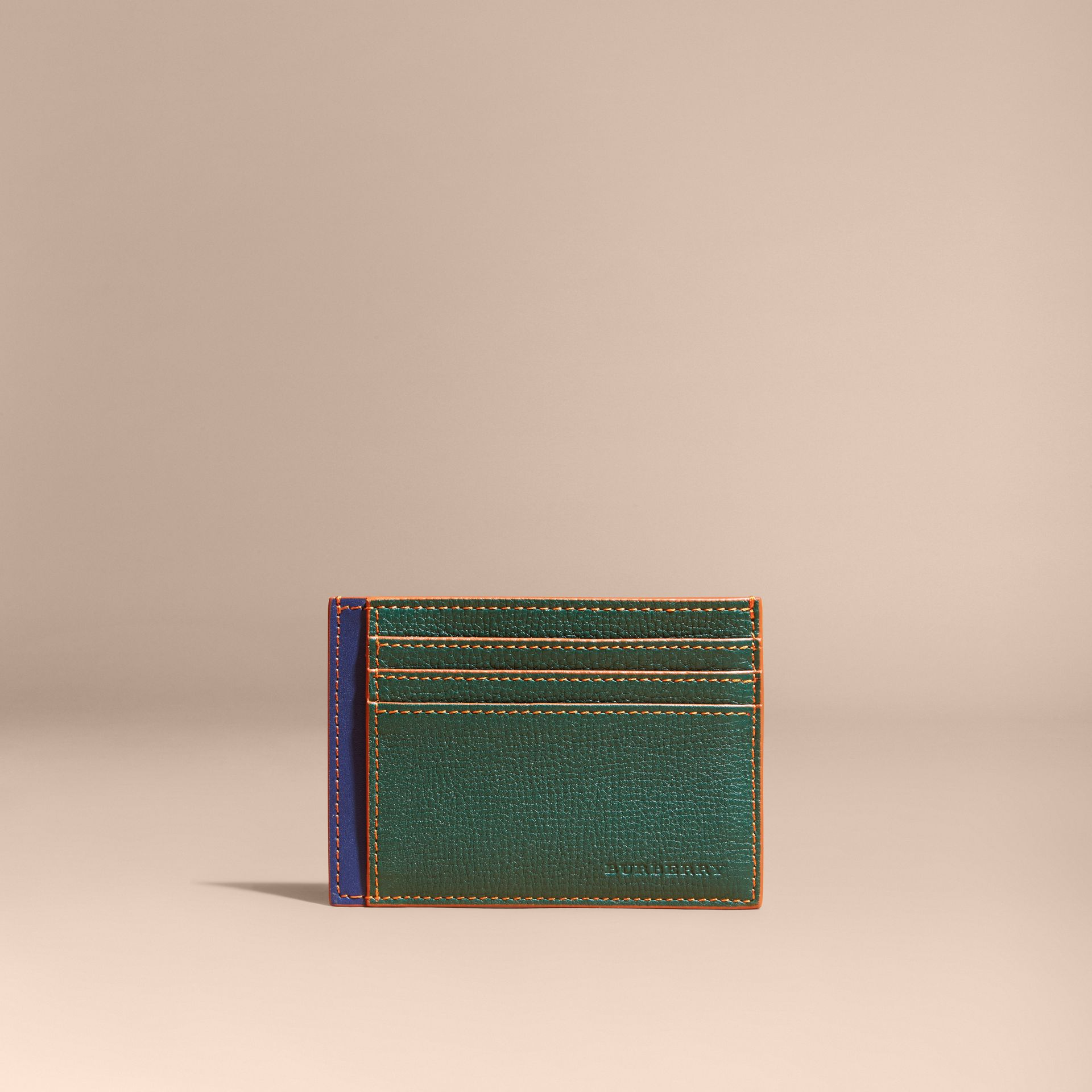 Colour Block Leather Card Case Sea Green - gallery image 6