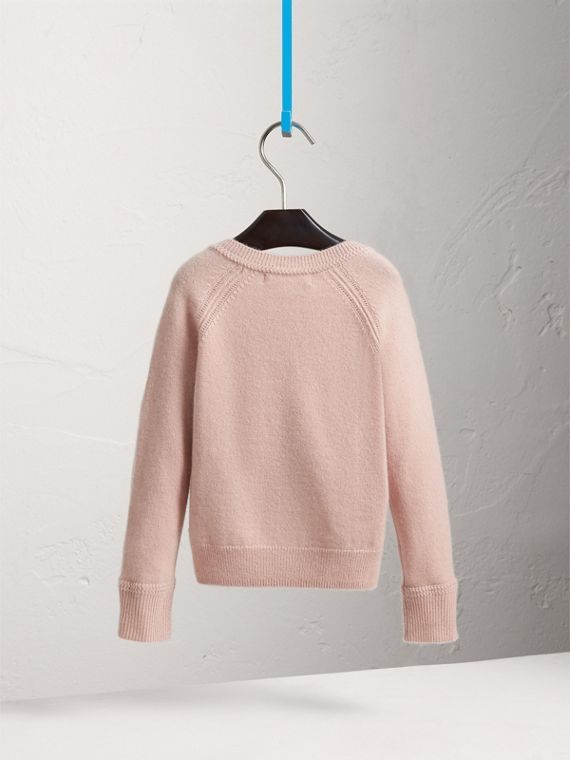 Check Cuff Cashmere Cardigan in Dusty Pink - Girl | Burberry - cell image 3