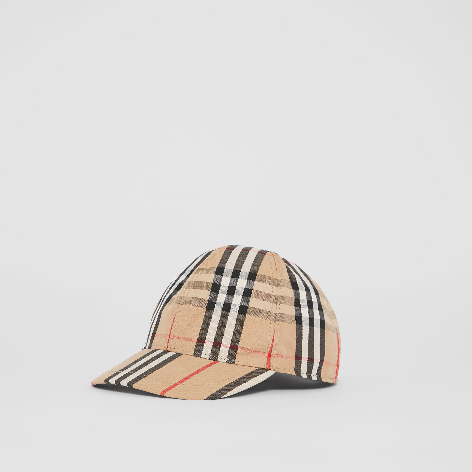 Vintage Check and Icon Stripe Baseball Cap in Archive Beige - Children | Burberry Australia - gallery image 3