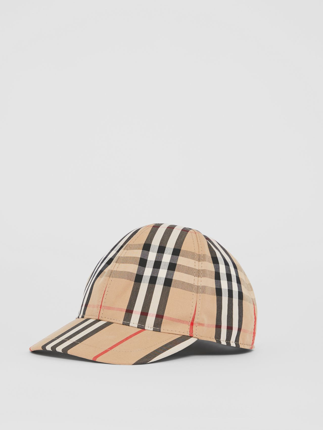 Vintage Check and Icon Stripe Baseball Cap in Archive Beige