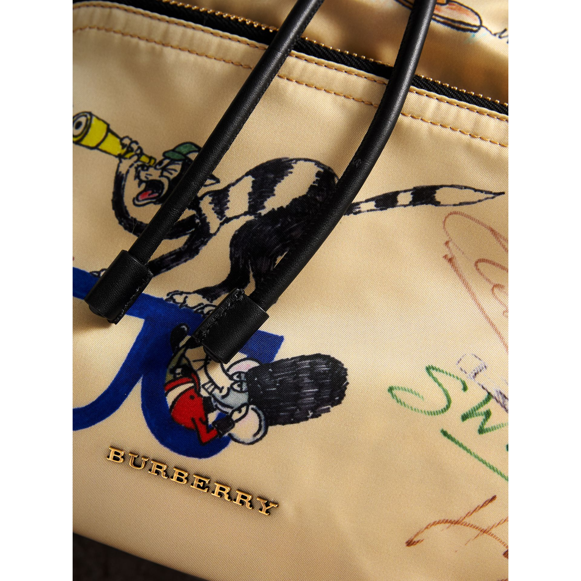The Large Rucksack in Sketch Print Nylon in Honey | Burberry Singapore - gallery image 2