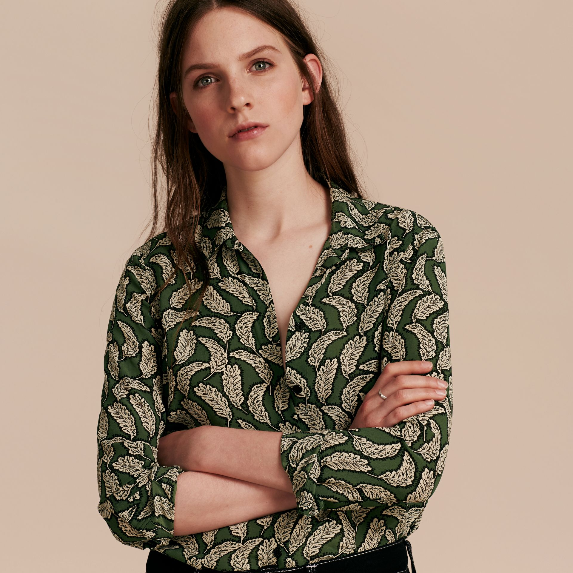 Dusty green Leaf Print Silk Shirt Dusty Green - gallery image 6