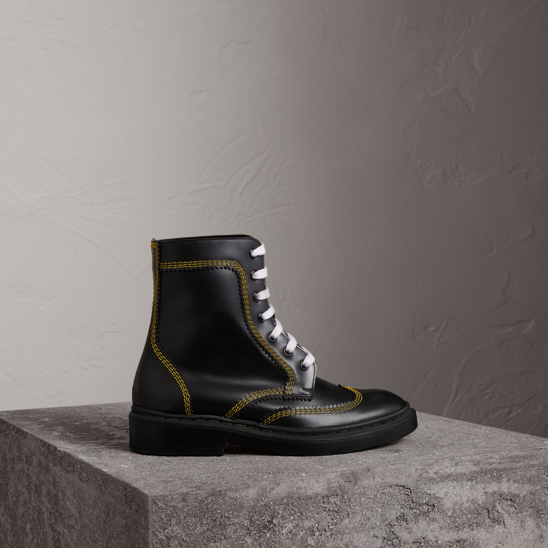 Topstitch Leather Lace-up Boots in Black - Women | Burberry Hong Kong - gallery image 0