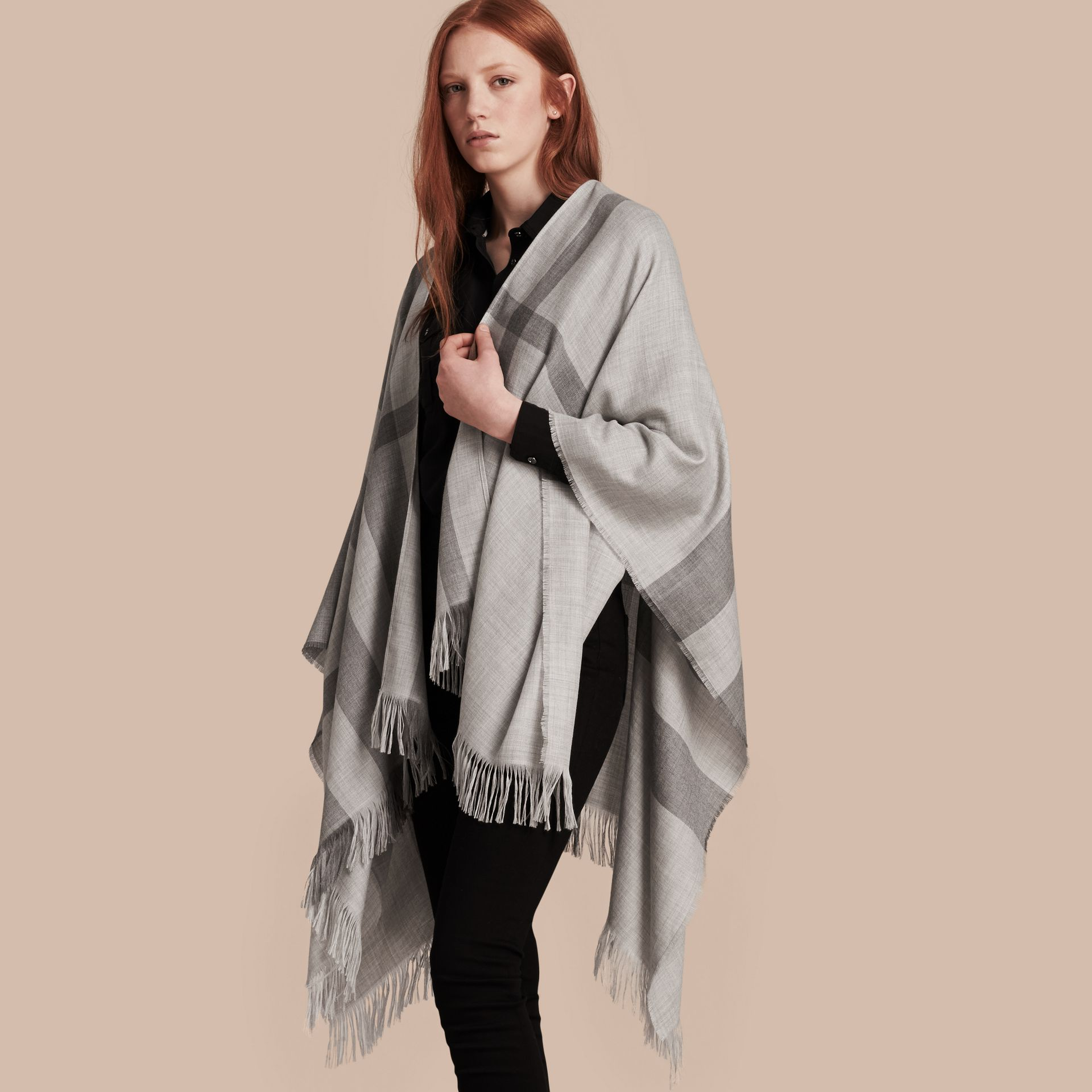 Pale grey Lightweight Check Cashmere Poncho Pale Grey - gallery image 1