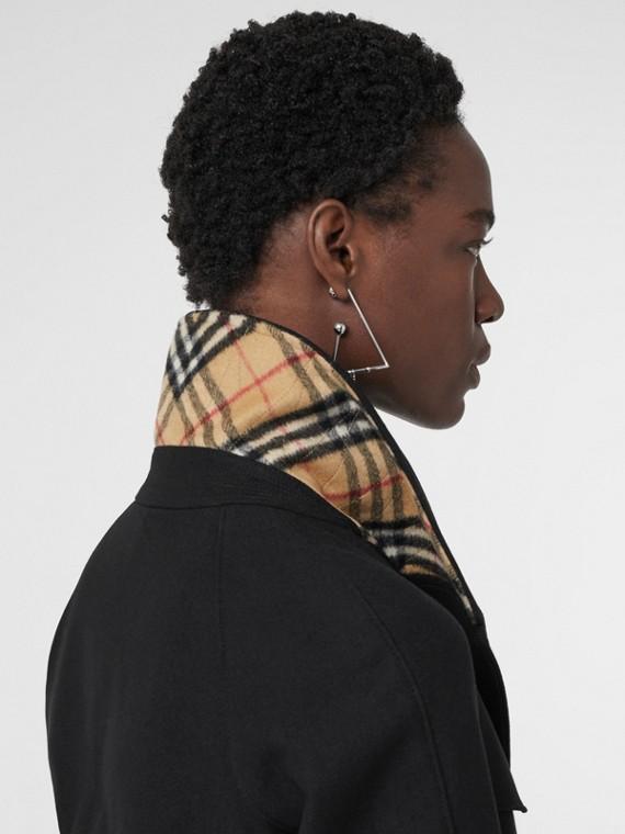 Herringbone Wool Cashmere Blend Trench Coat in Black