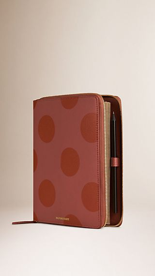 Ziparound Polka Dot Grainy Leather A5 Notebook