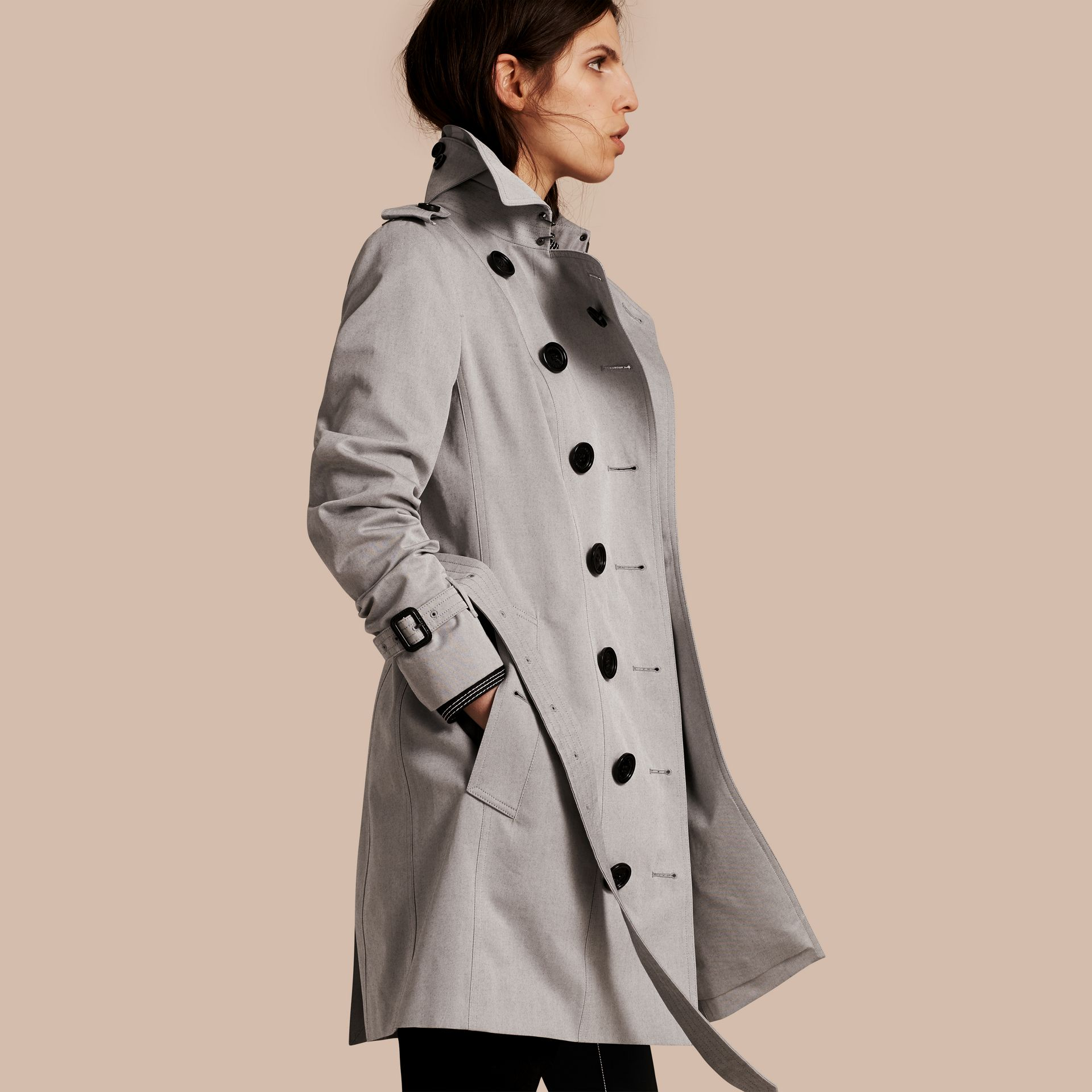 Cotton Gabardine Trench Coat Light Grey Melange - gallery image 1