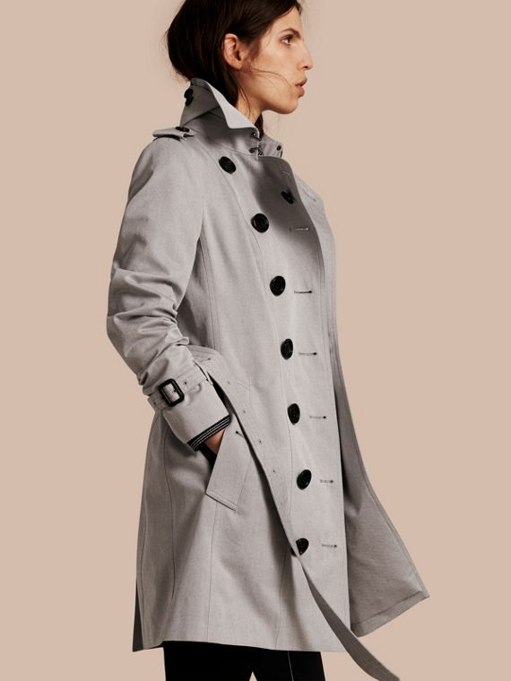 Trench coat de gabardine de algodão Light Grey Melange
