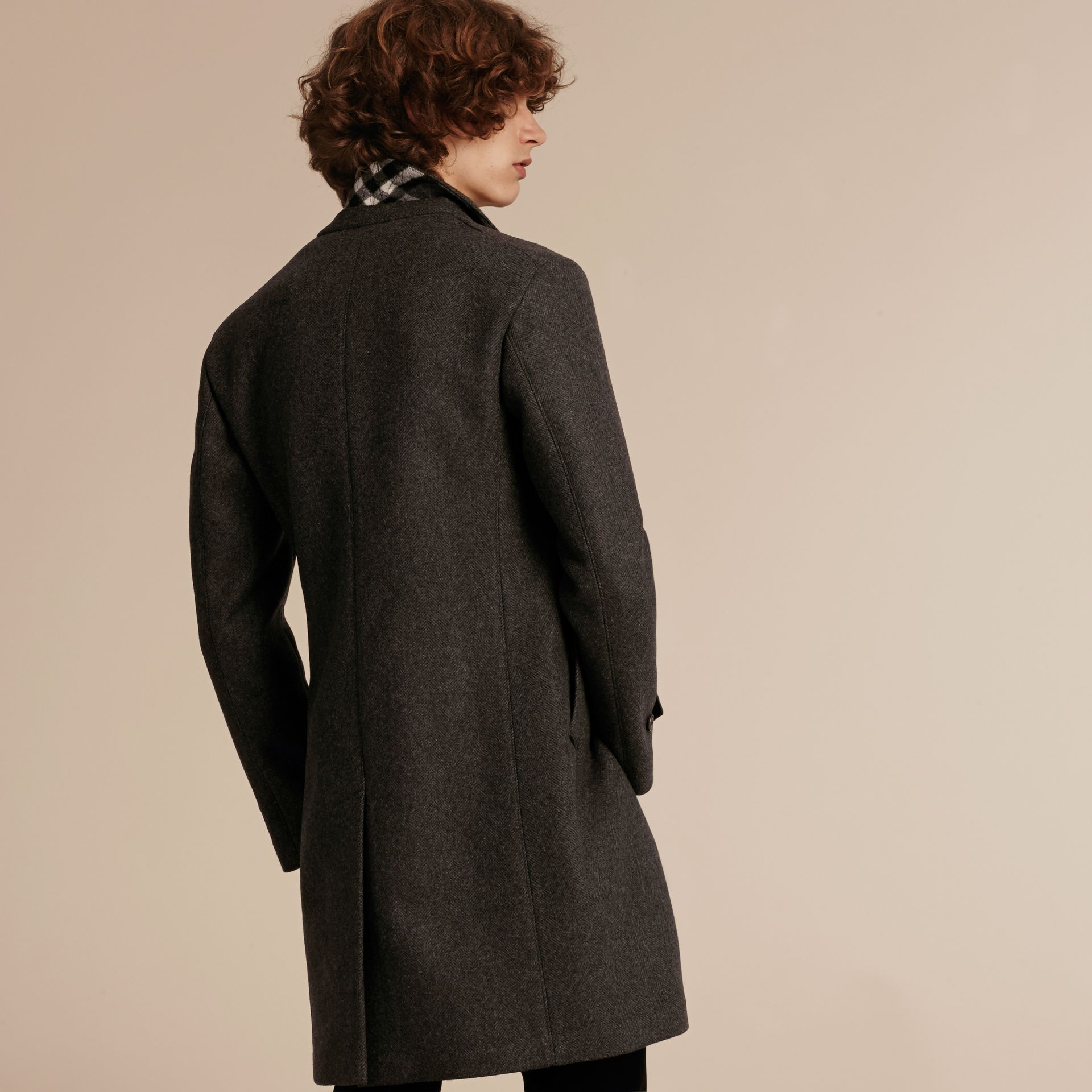 Charcoal melange Single-breasted Wool Blend Tailored Coat - gallery image 3