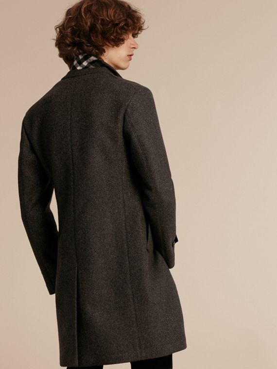 Charcoal melange Single-breasted Wool Blend Tailored Coat - cell image 2