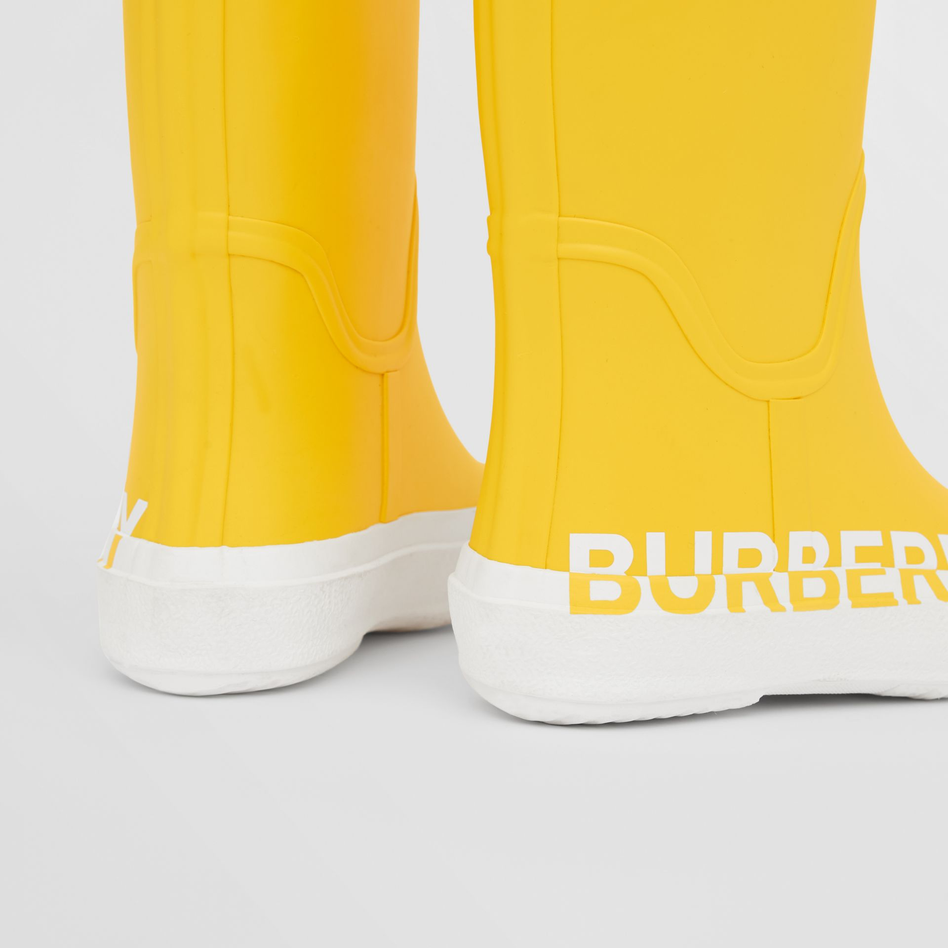 Logo Print Two-tone Rubber Rain Boots in Canary Yellow - Children | Burberry - gallery image 1