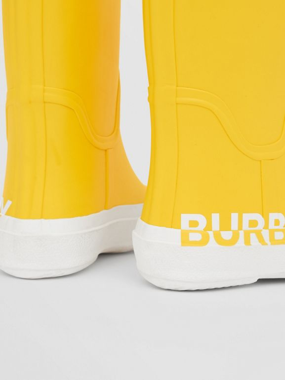 Logo Print Two-tone Rubber Rain Boots in Canary Yellow - Children | Burberry - cell image 1