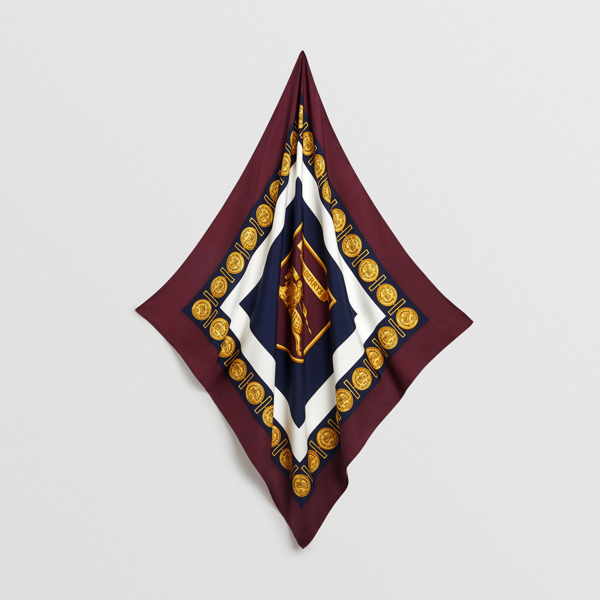 Archive Scarf Print Silk Square Scarf in Burgundy | Burberry - gallery image 2