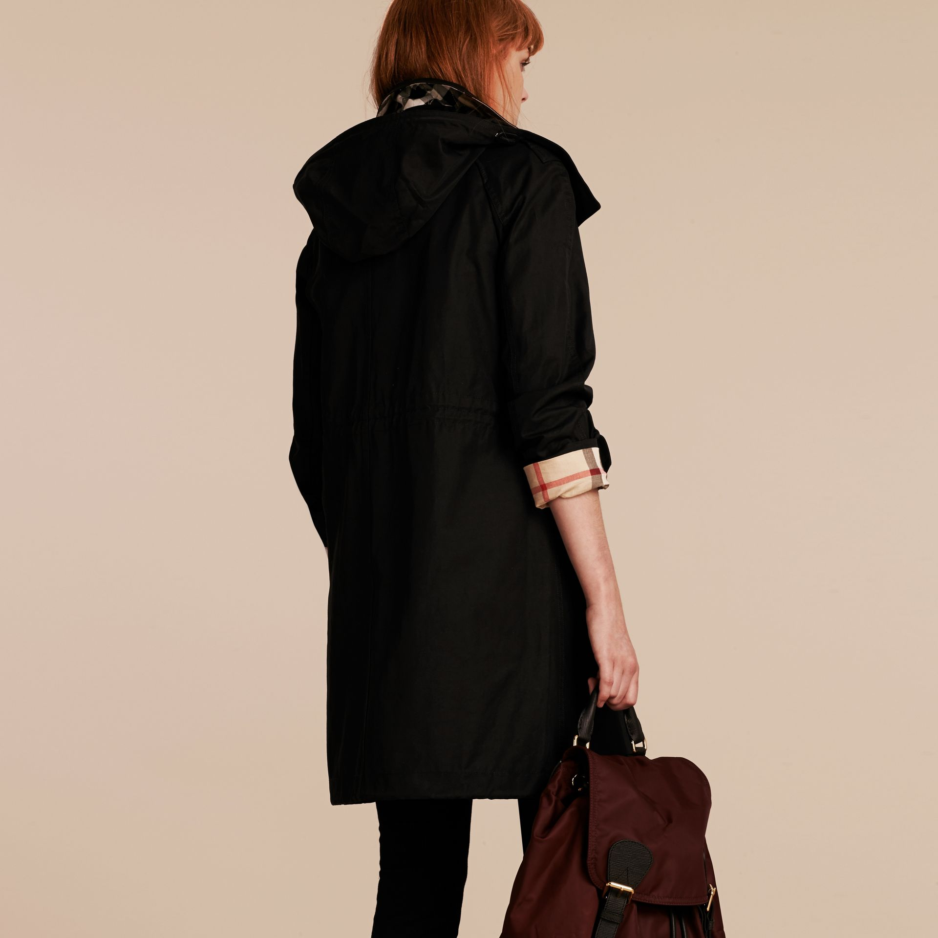 Hooded Cotton Blend Parka with Detachable Warmer Black - gallery image 3