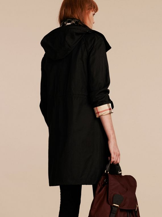 Hooded Cotton Blend Parka with Detachable Warmer in Black - Women | Burberry - cell image 2