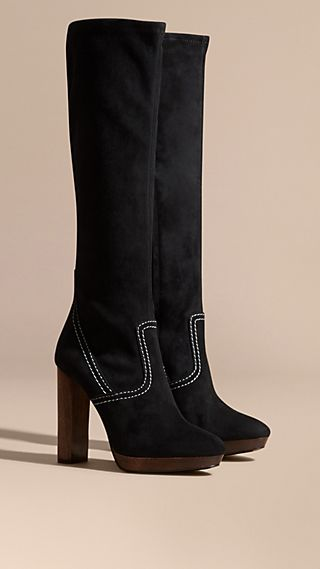 Topstitch Detail Knee-high Suede Platform Boots