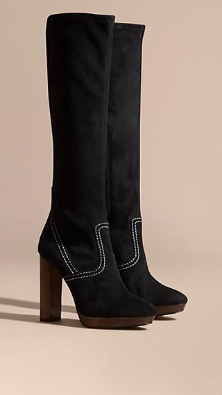 Topstitch Detail Knee-high Suede Platform Boots