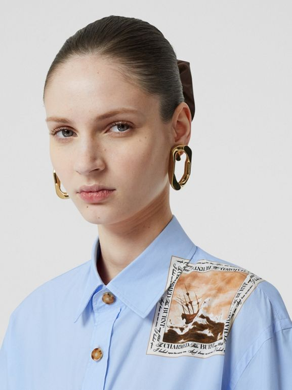 Montage Print Cotton Oversized Shirt in Baby Blue - Women | Burberry - cell image 1