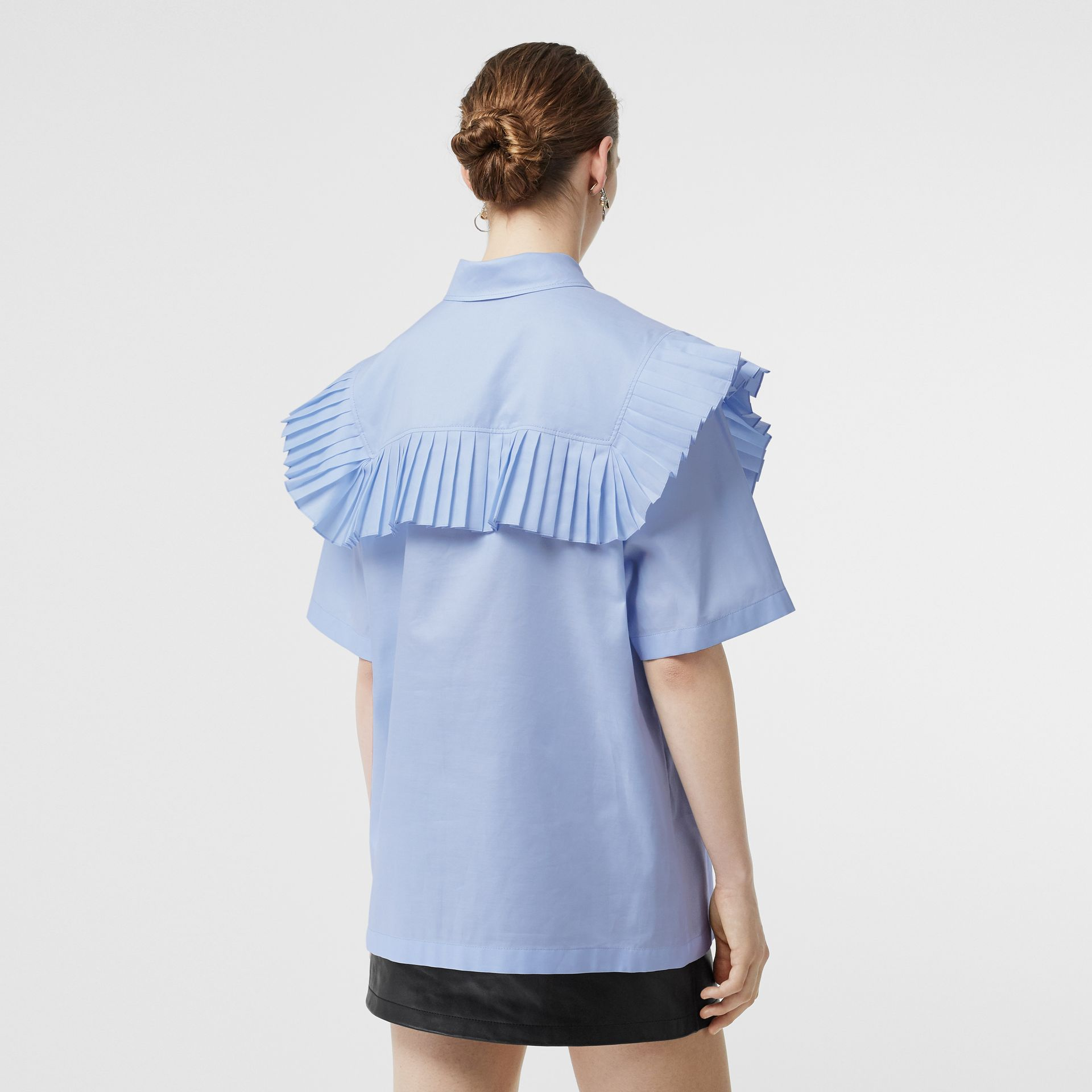 Short-sleeve Pleat Detail Cotton Oversized Shirt in Baby Blue - Women | Burberry - gallery image 2