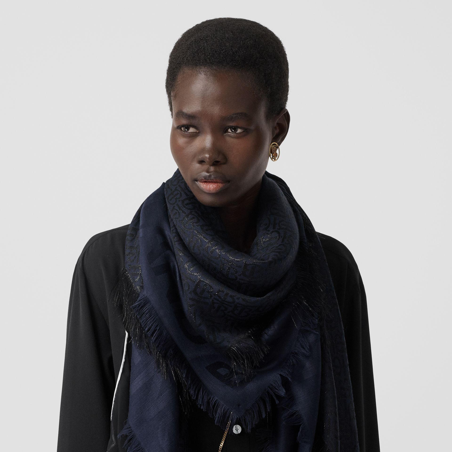 Metallic Monogram Silk Blend Large Square Scarf in Navy/black | Burberry - gallery image 2
