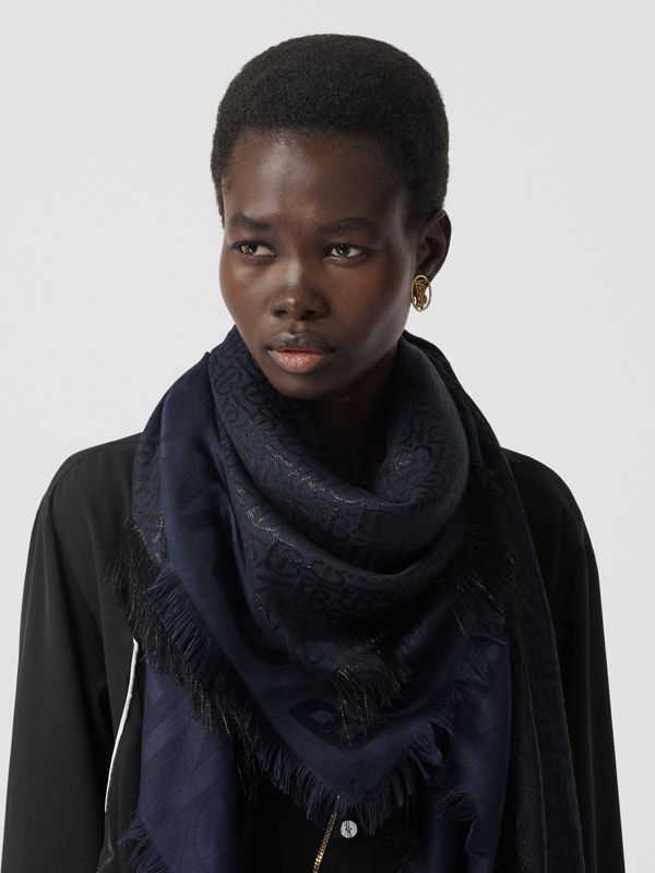Metallic Monogram Silk Blend Large Square Scarf in Navy/black | Burberry - cell image 2