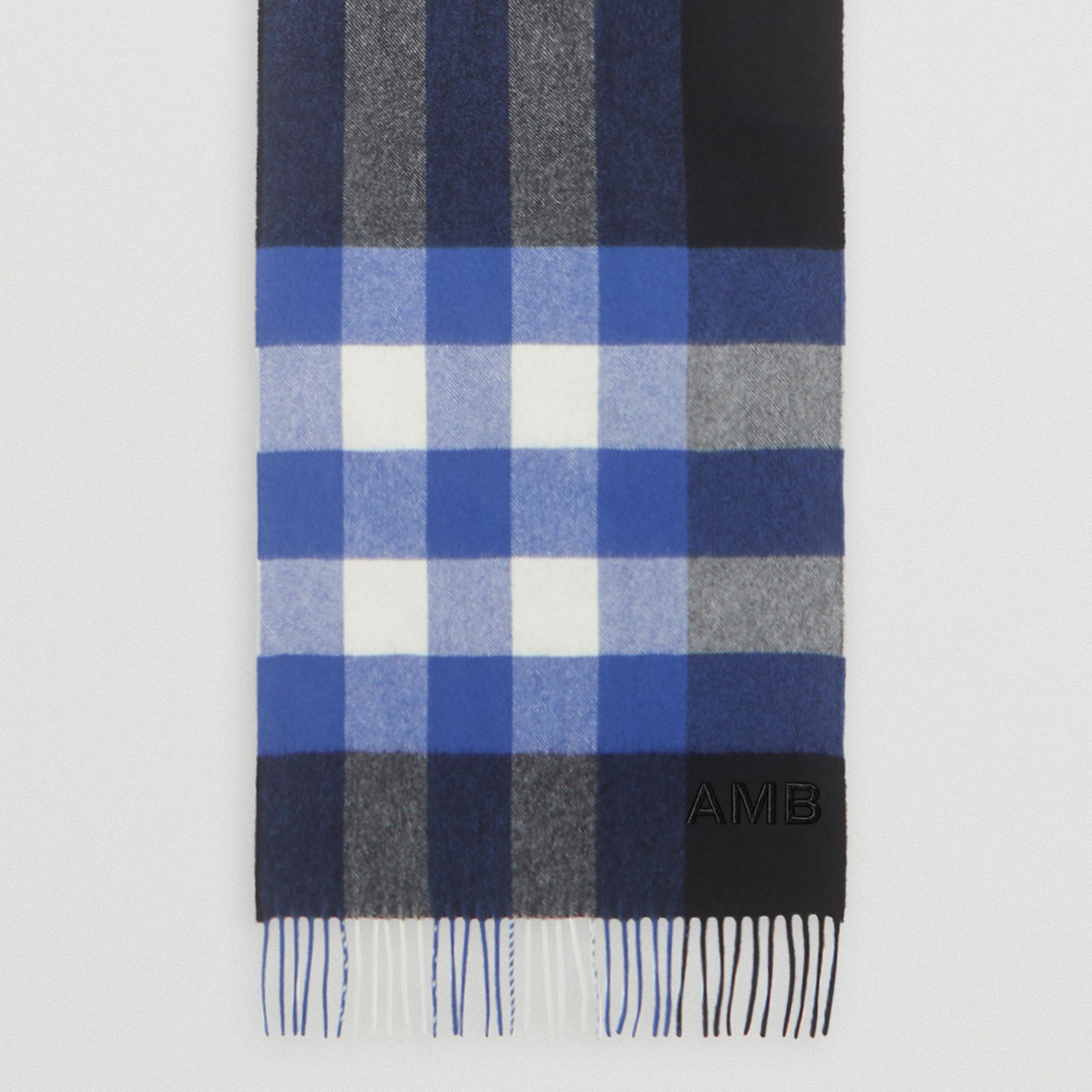 Check Cashmere Scarf in Black/bluebell | Burberry Canada - gallery image 8