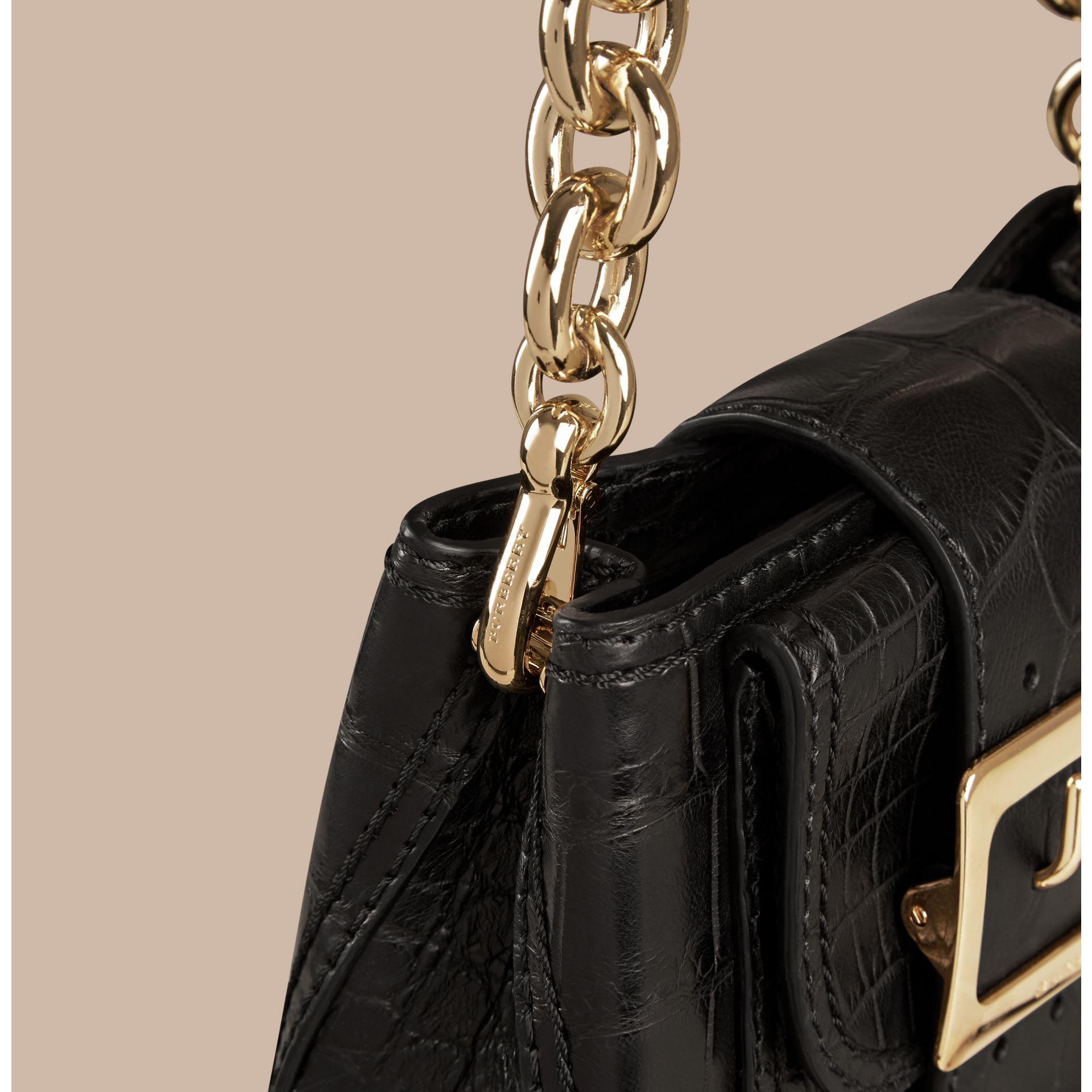 Black The Small Square Buckle Bag in Alligator Limited Edition - gallery image 7