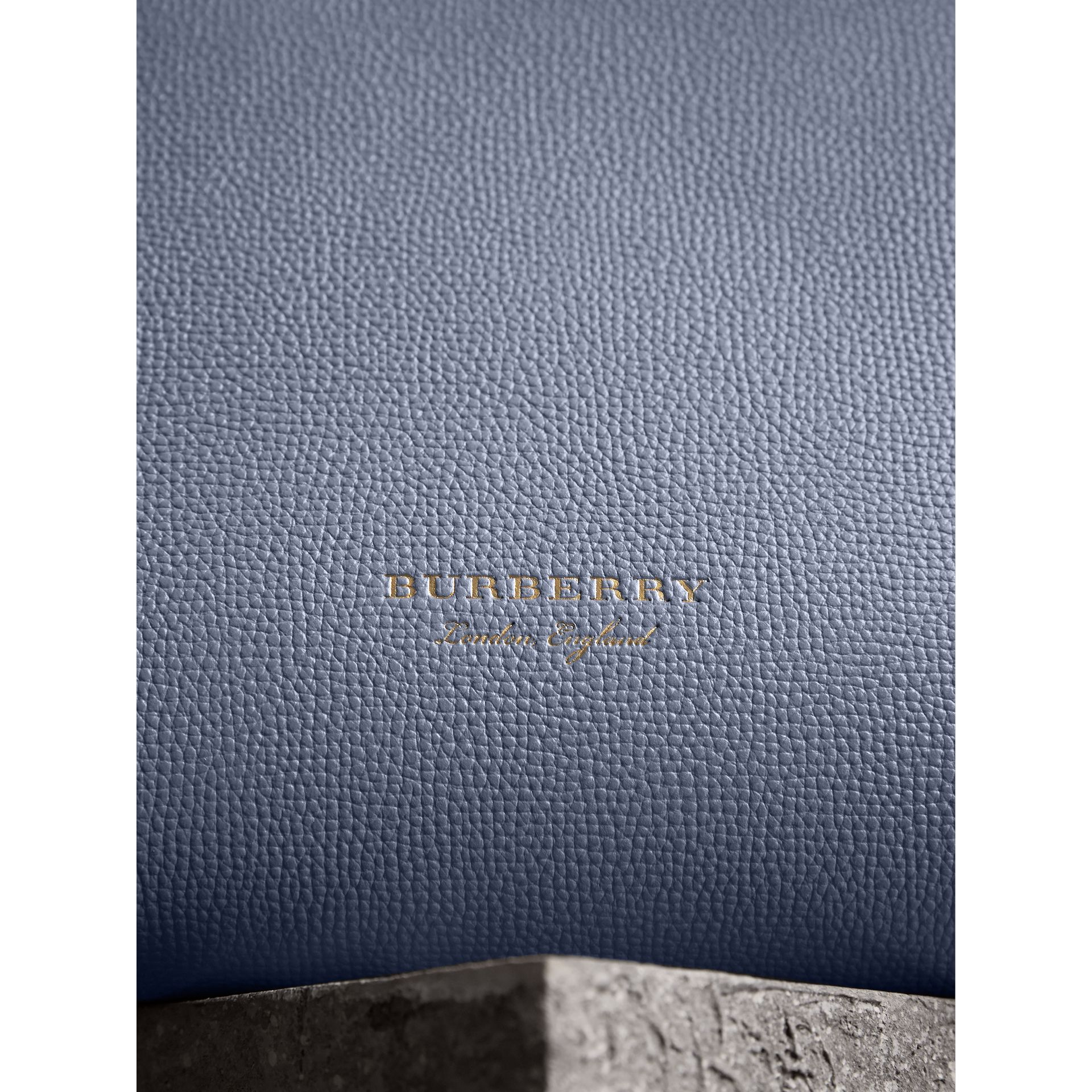 The Medium Banner in Leather and House Check in Slate Blue - Women | Burberry - gallery image 1