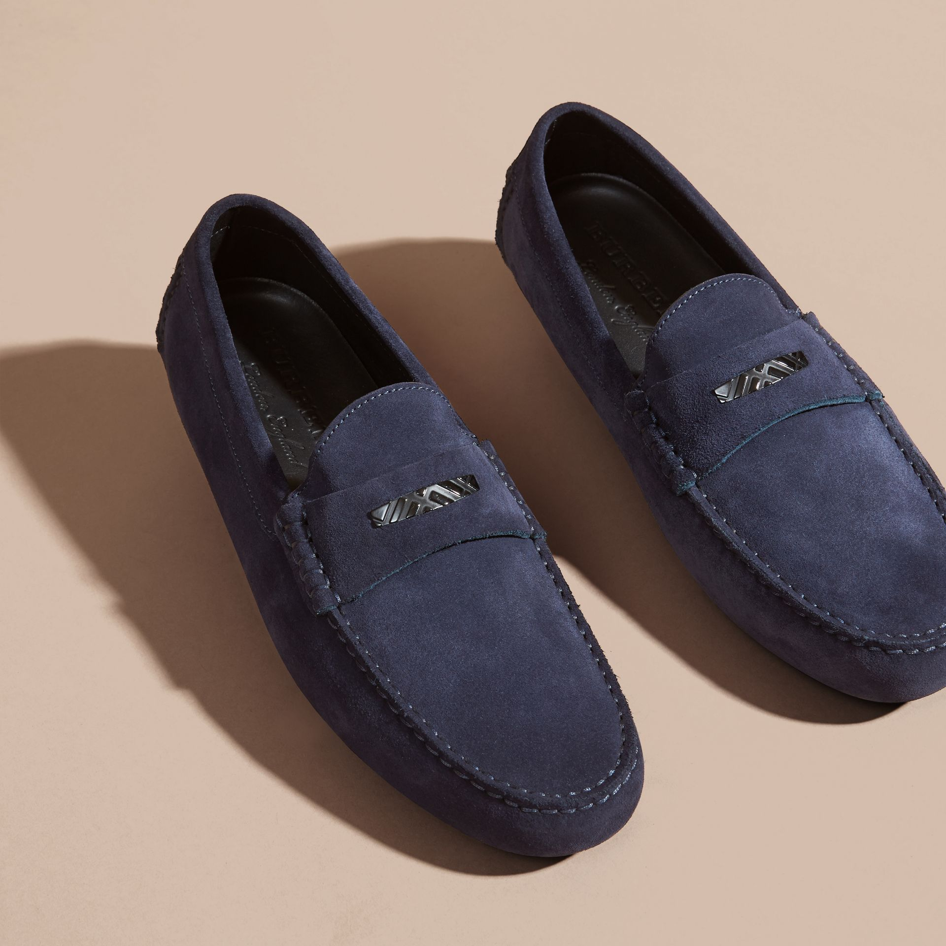 Dark navy Suede Loafers with Engraved Check Detail - gallery image 3