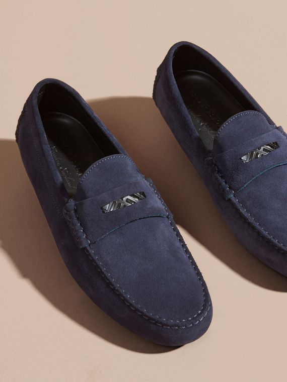 Dark navy Suede Loafers with Engraved Check Detail - cell image 2
